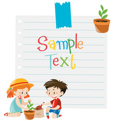 Paper template with kids planting tree vector