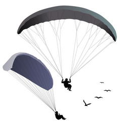 Paragliders set of two silhouettes vector