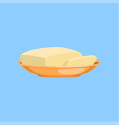 piece of butter on a plate fresh and healthy vector image