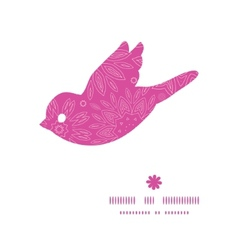 Pink abstract flowers texture bird silhouette vector