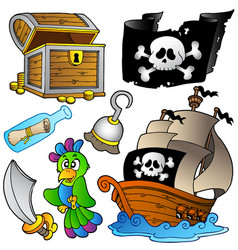 pirate collection with wooden ship vector image