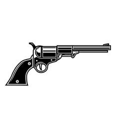 retro cowboy revolver design element for logo vector image