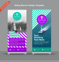 rollup banner with bright purple and mint with vector image