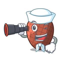 Sailor with binocular mascot cartoon of moriche vector