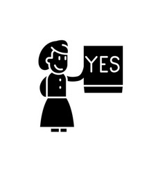 say yes black icon sign on isolated vector image