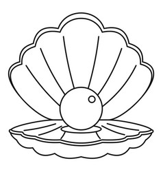 Sea shell with pearl icon outline style vector