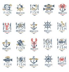 Seafood menu design set vector