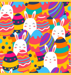Seamless pattern happy egg with bunny for happy vector