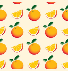 seamless pattern with oranges and green leaves vector image