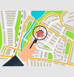 search house on the map banner concept vector image