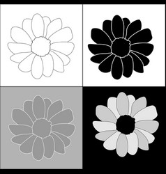 Set flowers on four background vector
