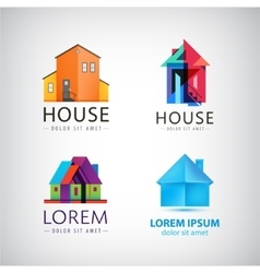 set of house logos property real estate vector image