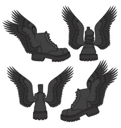 Set of of black boots with wings vector