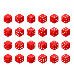 set of red isometric dice vector image
