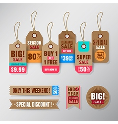 Set of retail sale tags design elements vector
