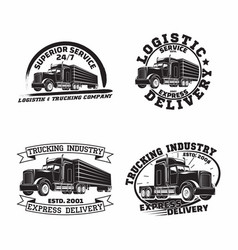 Set trucking company vintage emblem designs vector