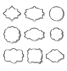 set white paper frames in different shapes vector image