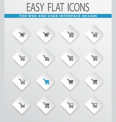 Shopping bascket icons set vector