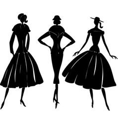 Silhouettes of elegant women in retro style vector