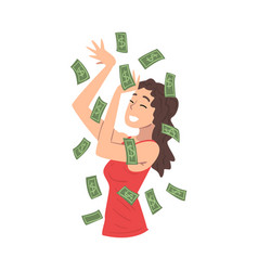 smiling girl with dollar bills flying around her vector image