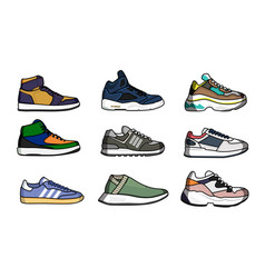 Sneakers shoes set vector