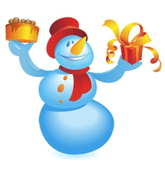 Snowman with cake and gift vector