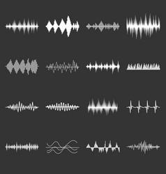sound wave icons set grey vector image