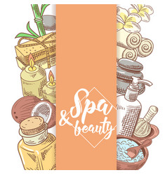 Spa salon wellness beauty hand drawn doodle vector