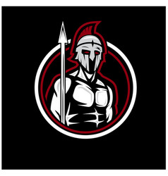 Spartan soldier logo designs vector