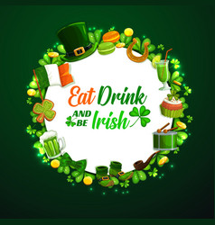 St patricks day holiday frame on green vector