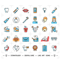 Stomatology icon dental care logo colorful vector