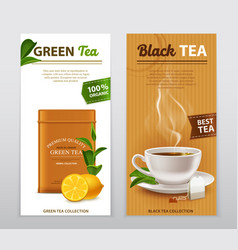Tea realistic advertisement banners set vector