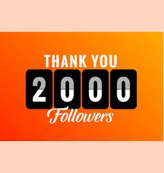 Thank you 2000 social media followers vector