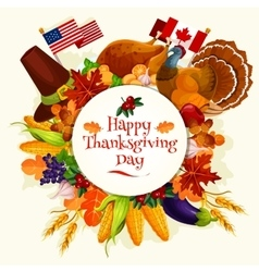 Thanksgiving Day banner emblem vector image
