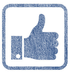 Thumb up fabric textured icon vector