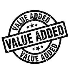 Value added round grunge black stamp vector