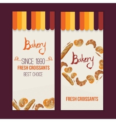 Watercolor hand drawn bakery set of banners vector