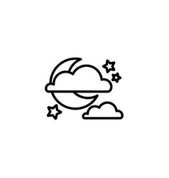 web icon moon clouds and stars night icon vector image