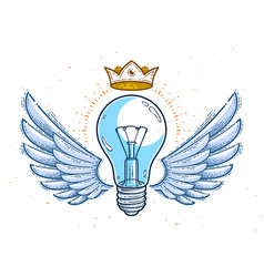 Winged light bulb creative idea concept logo or vector