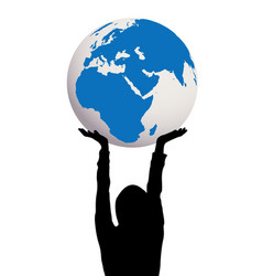 woman silhouette holding earth globe in hands vector image