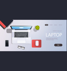 workplace desk laptop computer top angle view cell vector image