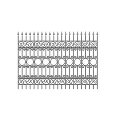 Wrought iron fence with decorative elements vector