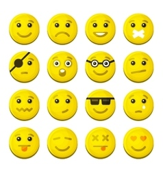 Yellow Smile Emotion Icons Set vector image