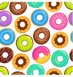 Yummy glazed cakes chocolate donuts vector