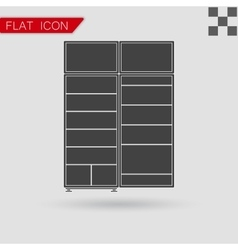 Black refrigerator Icon Flat Style with red vector image vector image