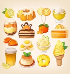 Colorful lemon and orange desserts vector image vector image