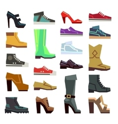 Different footwear casual shoes set vector image vector image