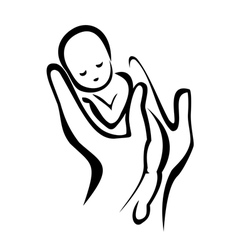 hands holding a newborn baby vector image