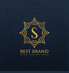 letter s logo style design with golden abstract vector image