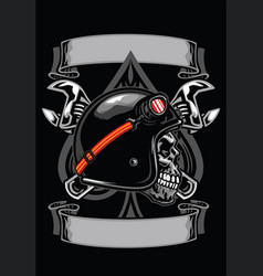 skull of biker with spade and crossed wrench vector image